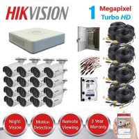 HikVision 16 Ch 1MP Turbo HD CCTV Kit - Remote access - Plug and play - DIY