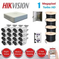 HikVision 16 CH 1MP HD CCTV Pack - Requires Crimper