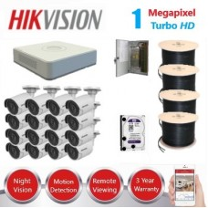 HikVision 16 Ch 1MP Turbo HD CCTV Kit - Remote access - Requires Crimper