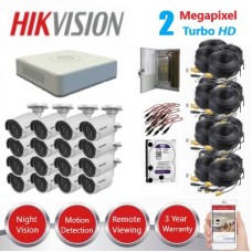 HikVision 16 Ch 2MP Turbo HD CCTV Kit - Remote access - Plug and play - DIY