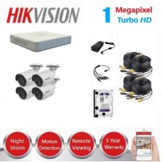 HikVision 4 Ch 1MP Turbo HD CCTV Kit - Remote access - Plug and play - DIY