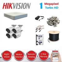 HikVision 4 CH 1MP HD CCTV Econo Pack - Requires Crimper