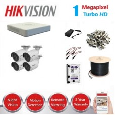 HikVision 4 Ch 1MP Turbo HD CCTV Kit - Remote access - Requires Crimper