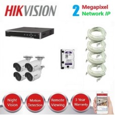 HikVision 8CH, 4 x 2MP IP CCTV Pack - DIY Kit