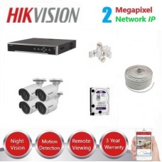 HikVision 8CH 4 x 2MP IP CCTV Pack - Requires Crimper