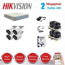 HikVision 4 Ch 2MP Turbo HD CCTV Kit - Remote access - Plug and play - DIY