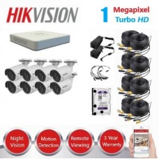 HikVision 8 Ch 1MP Turbo HD CCTV Kit - Remote access - Plug and play - DIY