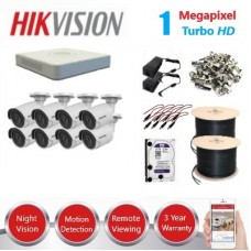 HikVision 8 Ch 1MP Turbo HD CCTV Kit - Remote access - Requires Crimper