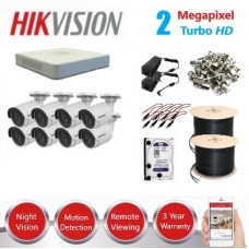 HikVision 8 Ch 2MP Turbo HD CCTV Kit - Remote access - Requires Crimper